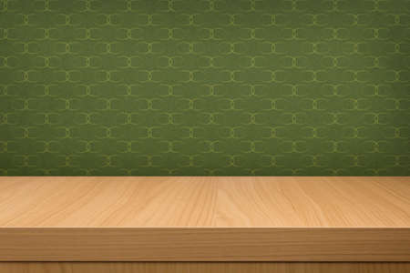 Background with wooden  deck table over vintage wallpaper with pattern. Ready for product display montage