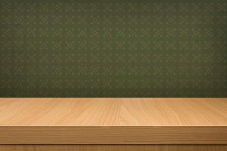 Background with wooden deck table over vintage wallpaper with pattern. Ready for product display montage Фото со стока