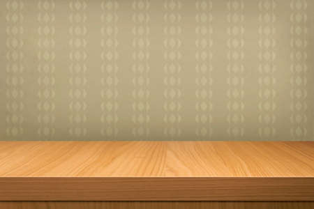 product display: Empty  wooden table over vintage wallpaper. Ready for product montage display Stock Photo