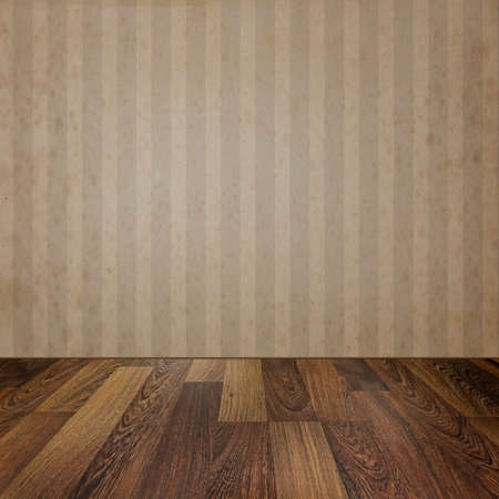 wooden floors: Empty room with wooden floors and vintage  striped wallpaper. Ready for product montage display