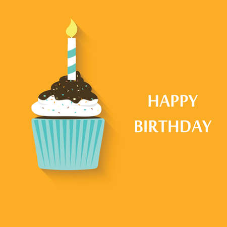 chocolate cakes: Birthday cupcake icon. Cute vector party cupcake Illustration