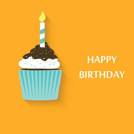 Icono de la magdalena del cumpleaños. Vector lindo partido de la magdalena Foto de archivo - 31297587