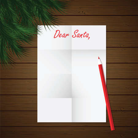 Dear Santa Christmas letter - vector illustration. New Year and Christmas theme Vector