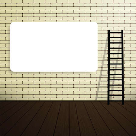 blank poster: Empty blank poster on a brick wall  with a ladder. Vector illustration. Place for your text