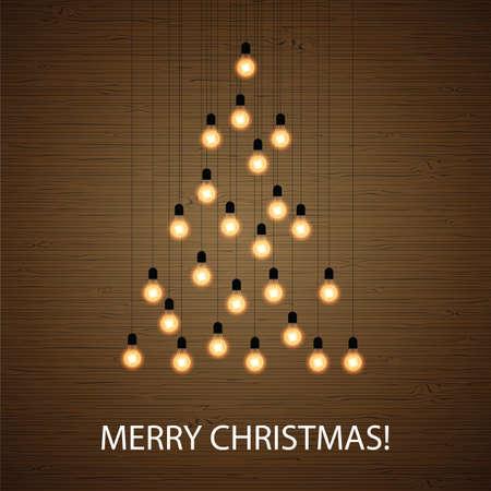 Christmas bulb lights arranged of Christmas tree. Christmas tree made of light bulbs