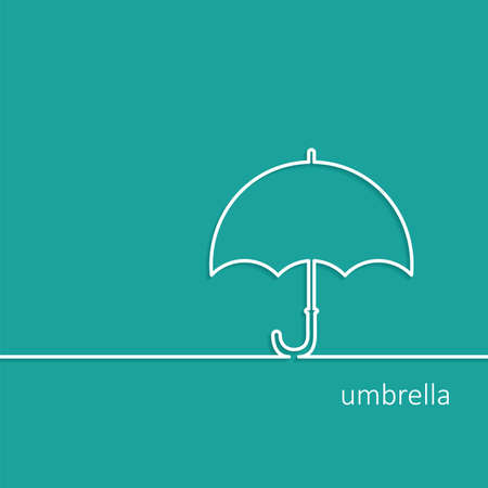 Background with Umbrella outline contour vector with shadow and space for text. Flat design. Icon Vector