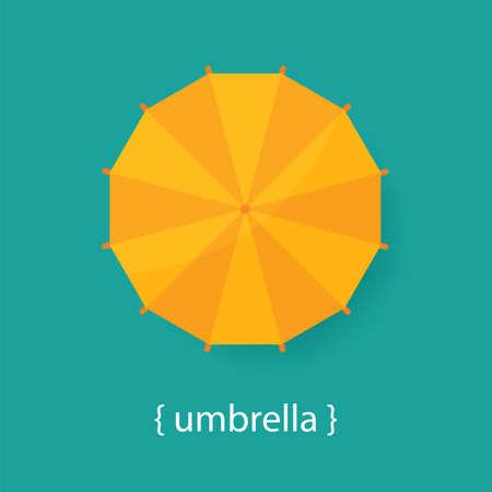 umbrella: Orange umbrella on a blue background. Top view.