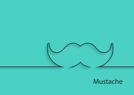 man and banner: Mustache vector icon. Outline. Fathers day