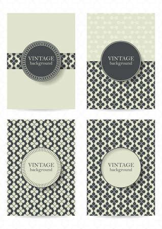 ビンテージ: ビンテージ スタイルのパンフレットのセットです。 プラカード、ポスター、チラシ、バナー デザインのレトロなパターン。