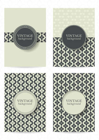 set shape: Set of brochures in vintage style.  Retro Patterns for Placards, Posters, Flyers and Banner Designs.