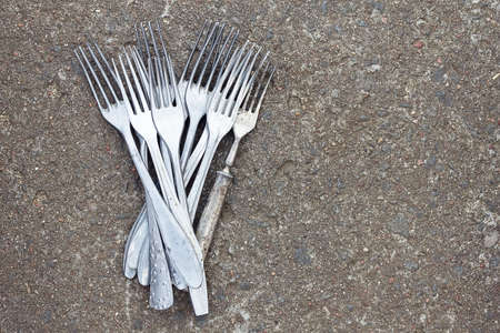 alluminum: Retro forks. Pile of retro aluminum forks Stock Photo