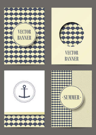 Nautical card with anchor on striped background for invitation. Retro Patterns for Placards, Posters, Flyers and Banner Designs. Set of brochures.