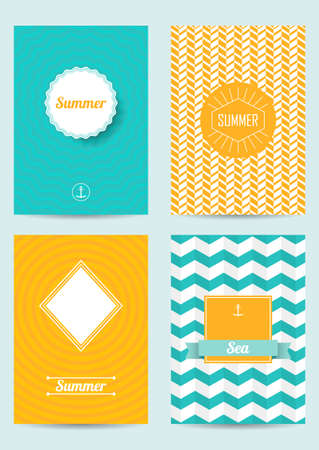 Set of creative summer cards. Retro Patterns for Placards, Posters, Flyers and Banner Designs. Set of brochures.