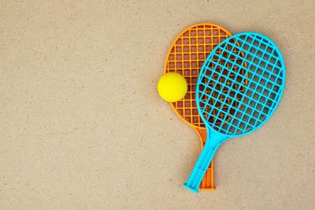 pong: Tennis rackets and ball on the table. Ping pong. Top view Stock Photo