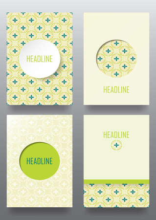 Set of brochures. Vintage style.  Seamless pattern.  Retro Patterns for Placards, Posters, Flyers and Banner Designs.