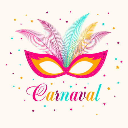 Poster Carnival with masquerade masks isolated on background.