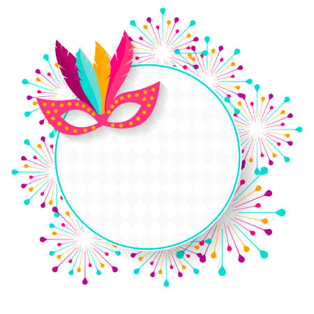 Carnival mask with feathers vector illustration. Carnival poster, banner with colorful party elements - mask, fireworks festival concept design.