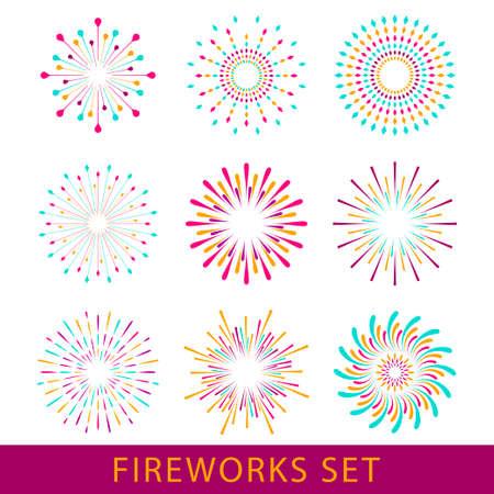 Anniversary fireworks and celebration background, set fireworks for carnival. Illustration