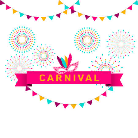 Carnival poster, banner with colorful party elements - fireworks, confetti, stars and splashes, festival concept design.