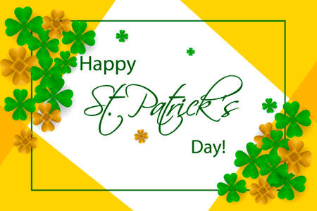 Happy Saint Patricks day background, greeting card with green and gold four and tree leaf clovers, modern geometric template, trendy art design vector illustration.
