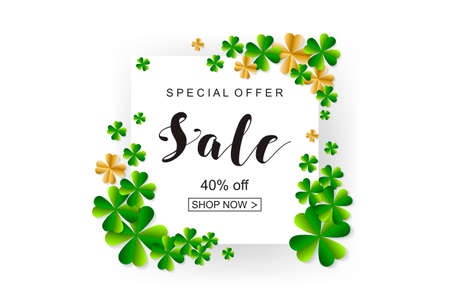 Happy Saint Patrick's Day background, greeting card with green and gold four and tree leaf clovers, white paper art design. Vector illustration.