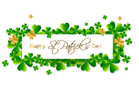 Happy Saint Patricks Day background, greeting card with green and gold four and tree leaf clovers, white paper art design. Vector illustration.