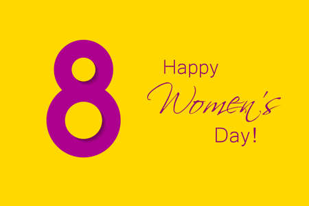 March 8 creative poster. Purple 8 with shadows on yellow background. International Womens Day. Vector illustration.