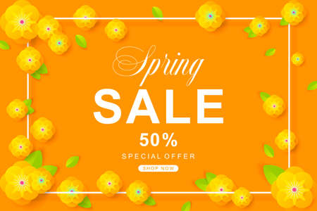 Spring Sale poster with flower and leaves decoration. For Sale discount, Web Promotion, Poster Banner Background, Sign and symbol. Luxury unique style, yellow color, Vector illustration