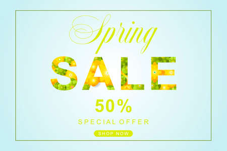 Spring Sale poster with flower and leaves decoration. For Sale discount, Web Promotion, Poster Banner Background, Sign and symbol. Luxury unique style. Vector illustration