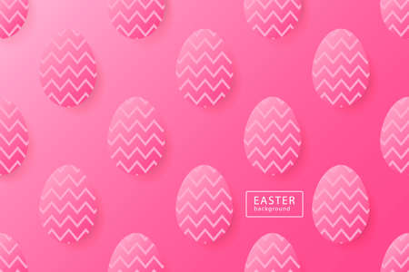 Abstract easter pink background with black frame for text. Creative 3D eggs with pattern. Vector illustration