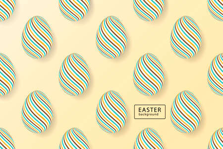 Abstract easter background. Creative 3D eggs with pattern. Vector illustration