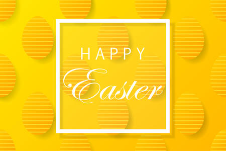 Abstract easter yellow background with white  frame for text. Creative 3D eggs with pattern. Vector illustration