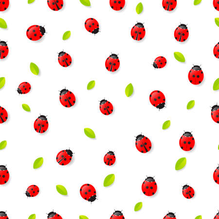 Red Ladybugs and leaves seamless pattern isolated on white background. Vector illustration 矢量图像