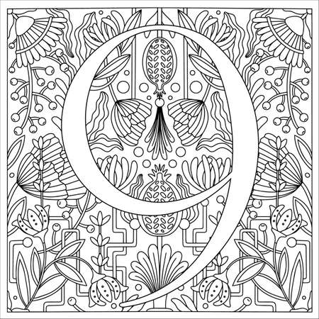 Vintage retro illustration in an engraving style of the number nine, flowers, branches and leaves. Art Nouveau and art Deco style. Symmetrical image with a black and white outline contour