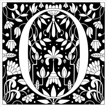 Vintage retro illustration in an engraving style of the number zero, flowers, branches and leaves. Art Nouveau and art Deco style. Symmetrical image with a black and white outline contour