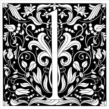 Vintage retro illustration in an engraving style of the number one, flowers, branches and leaves. Art Nouveau and art Deco style. Symmetrical image with a black and white outline contour