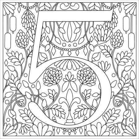 Vintage retro illustration in an engraving style of the number five, flowers, branches and leaves. Art Nouveau and art Deco style. Symmetrical image with a black and white outline contour