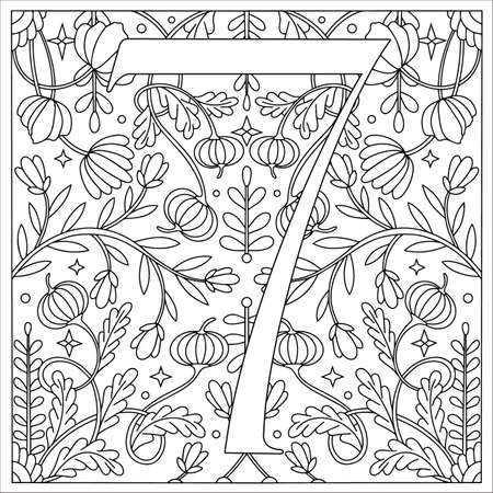 Vintage retro illustration in an engraving style of the number seven, flowers, branches and leaves. Art Nouveau and art Deco style. Symmetrical image with a black and white outline contour