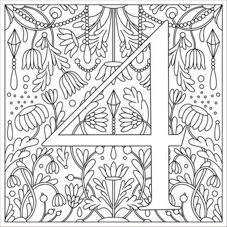 Vintage retro illustration in an engraving style of the number four, flowers, branches and leaves. Art Nouveau and art Deco style. Symmetrical image with a black and white outline contour