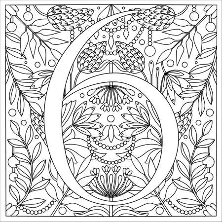 Vintage retro illustration in an engraving style of the number six, flowers, branches and leaves. Art Nouveau and art Deco style. Symmetrical image with a black and white outline contour