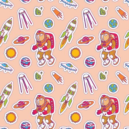 Seamless pattern set of galaxy cosmic elements astronaut, earth, satellite, comet, planet, sun, rocket and meteorite univerce  cartoon illustration space cosmos stisker