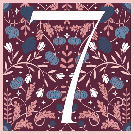 Vintage retro illustration in an engraving style of the number seven, flowers, branches and leaves. Art Nouveau and art Deco style. Symmetrical image with blue, violet, pink, white colors