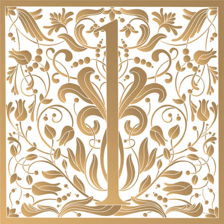 Vintage retro illustration in an engraving style of the number one, flowers, branches and leaves. Art Nouveau and art Deco style. Symmetrical image with gold colors Vettoriali