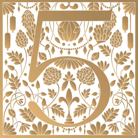 Vintage retro illustration in an engraving great gatsby style of the number five, flowers, branches and leaves. Art Nouveau and art Deco style. Symmetrical image with gold colors