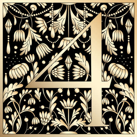 Vintage retro illustration in an engraving great gatsby style of the number four, flowers, branches and leaves. Art Nouveau and art Deco style. Symmetrical image with gold colors