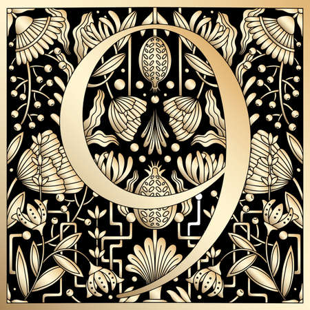 Vintage retro illustration in an engraving great gatsby style of the number nine, flowers, branches and leaves. Art Nouveau and art Deco style. Symmetrical image with gold colors
