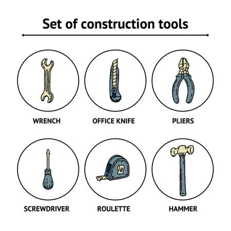 Work and Labor hand drawn blue and beige set of construction tools with screwdriver, office knife, spanner, hammer, tape measure and pliers