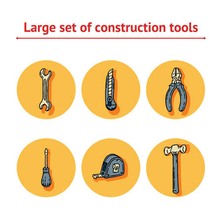 Work and Labor hand drawn blue and yellow set of construction tools with screwdriver, office knife, spanner, hammer, tape measure and pliers