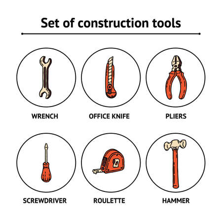 Work and Labor hand drawn beige and orange set of construction tools