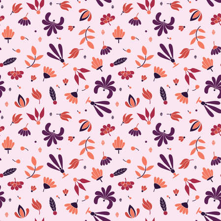 Modern colored seamless pink pattern with flowers and geometric elements.
